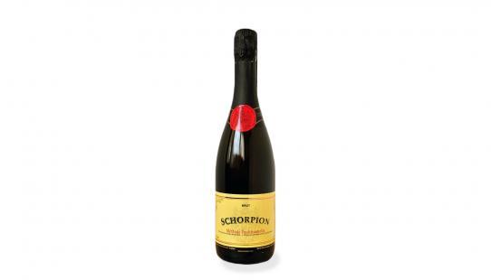 Schorpion 'Noir' brut bouteille de vin avec étiquette