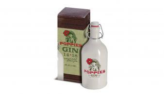 Rubbens Poppies Gin 50 cl kruik met beugelslot in geschenkdoos